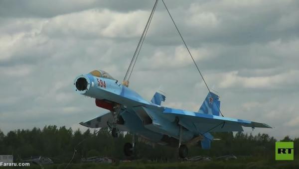 (ویدئو) عملیات جابجایی جنگنده سوخو با بالگرد